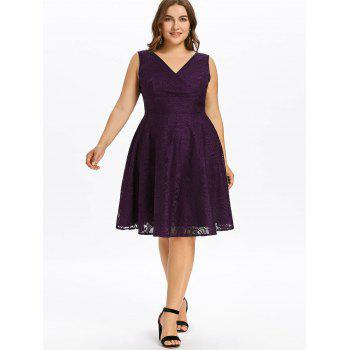Plus Size Empire Waist Lace Dress - PURPLE 3X