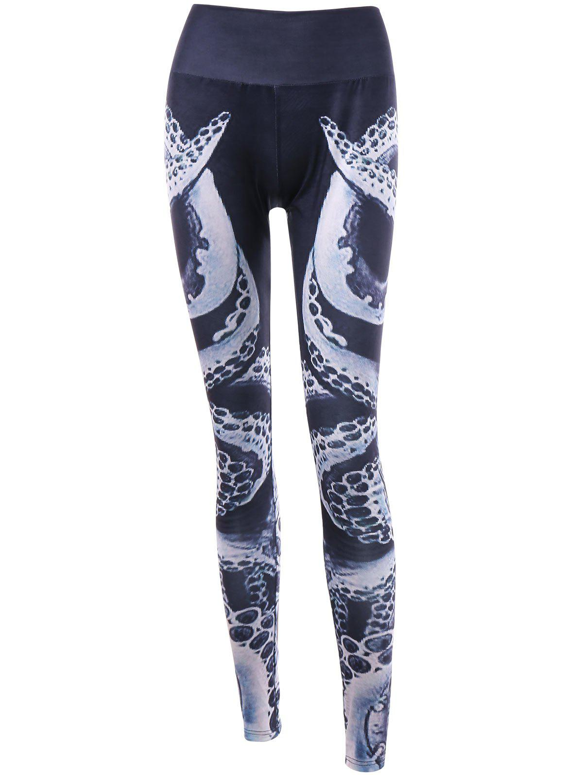 Octopus Printed High Waist Leggings - BLACK 2XL