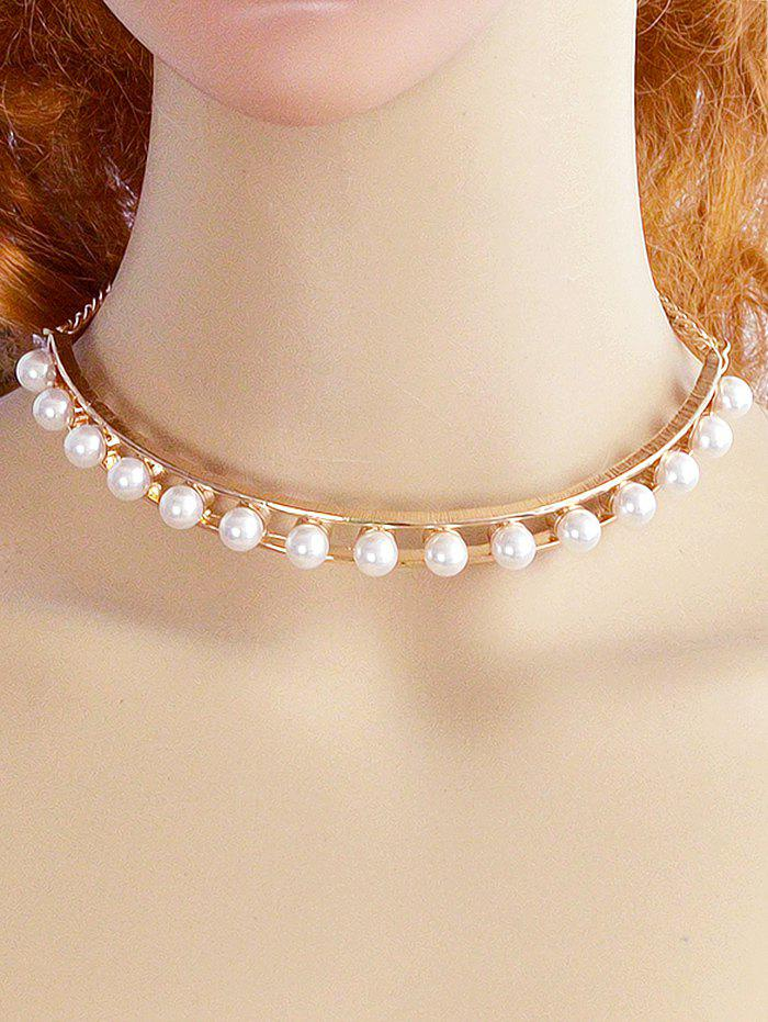 Faux Pearl Openwork Alloy Necklace - GOLD