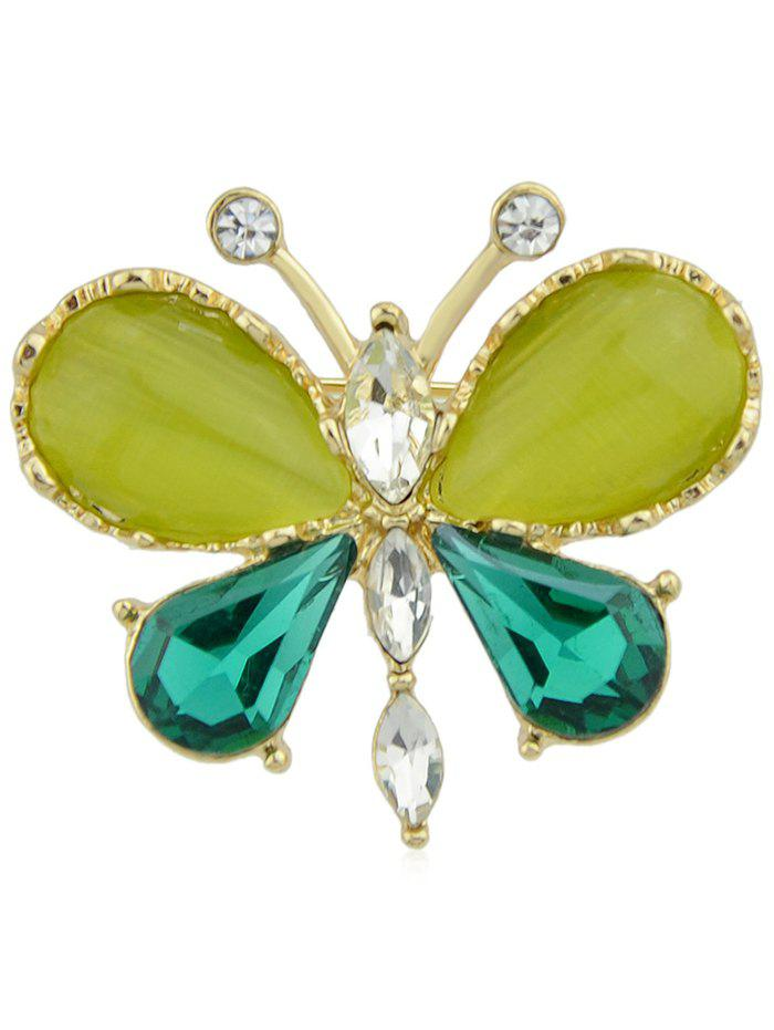 Unique Rhinestone Artificial Gem Butterfly Pin Brooch - GREEN