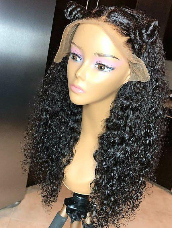 Long Middle Part Synthetic Curly Lace Front Wig - BLACK