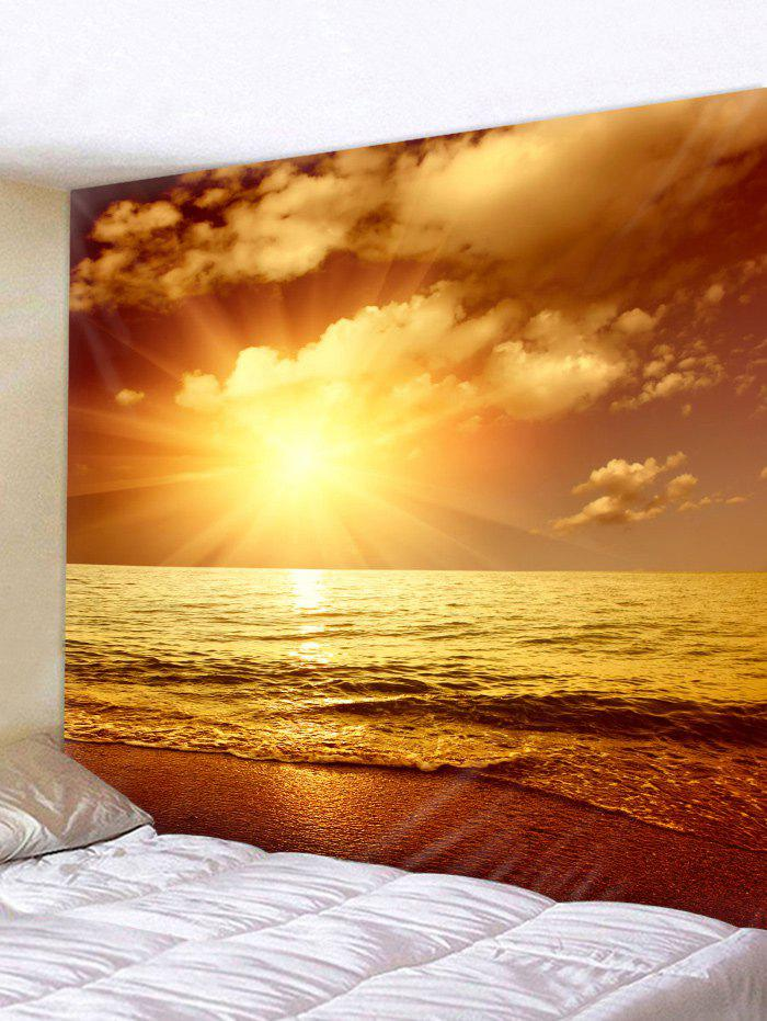 Sunset Sea Beach Printed Tapestry Wall Hanging Decoration, Sun yellow