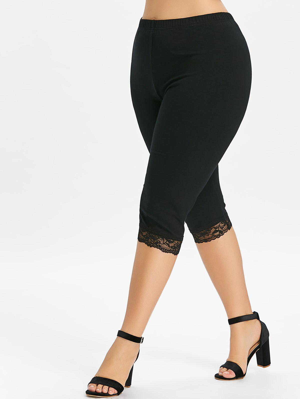 Plus Size High Waisted Lace Hem Leggings - BLACK 1X