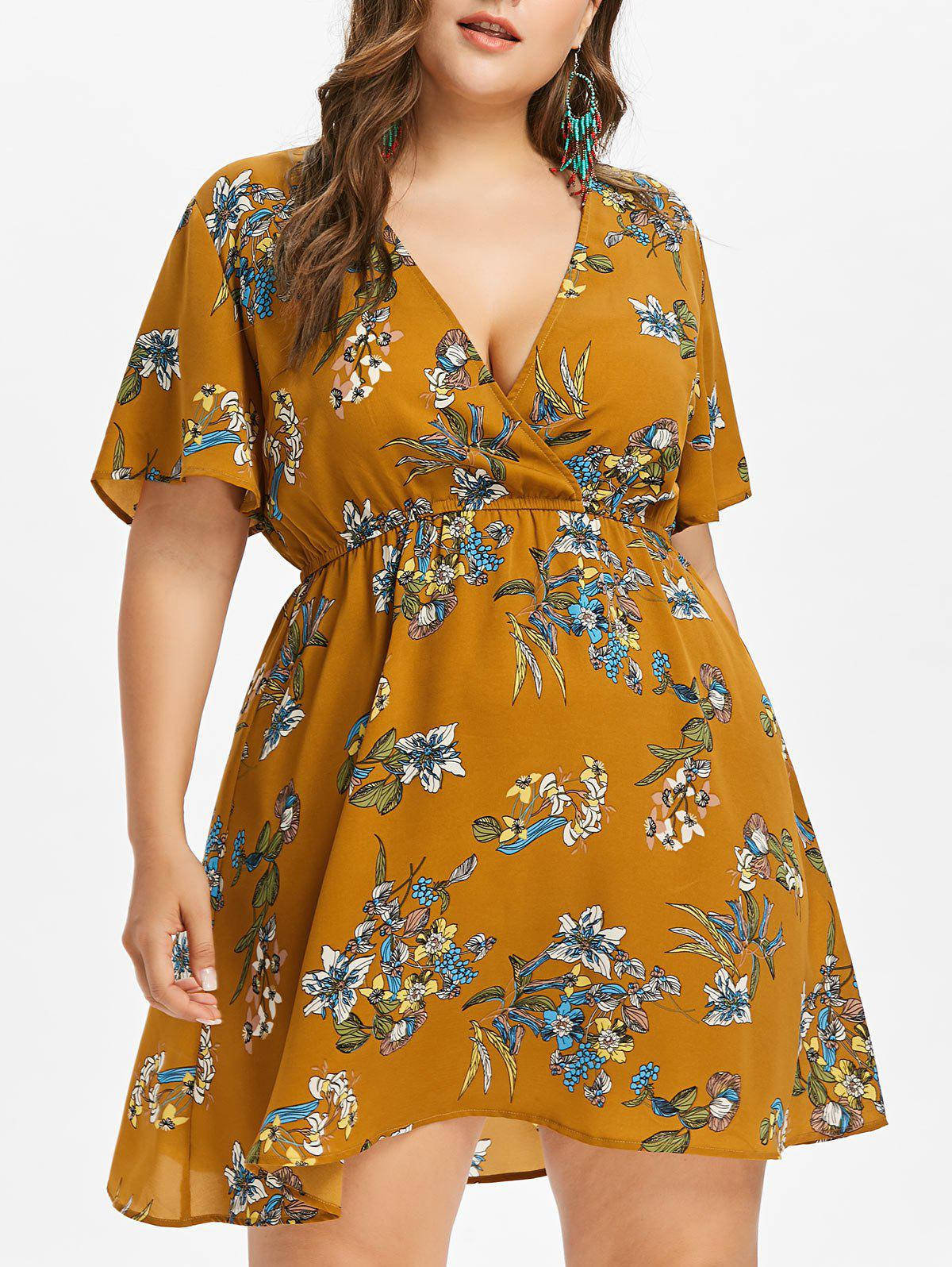 Plus Size Plunging Neck Casual Dress - BEE YELLOW 2X