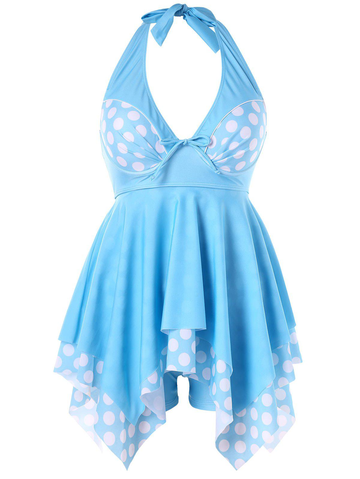 Halter Neckline Plus Size Polka Dot Tankini - LIGHT BLUE 3XL