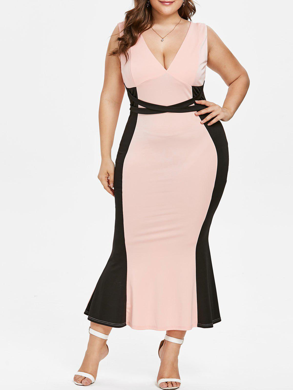 Plus Size Two Tone Maxi Fishtail Dress - LIGHT PINK 3X