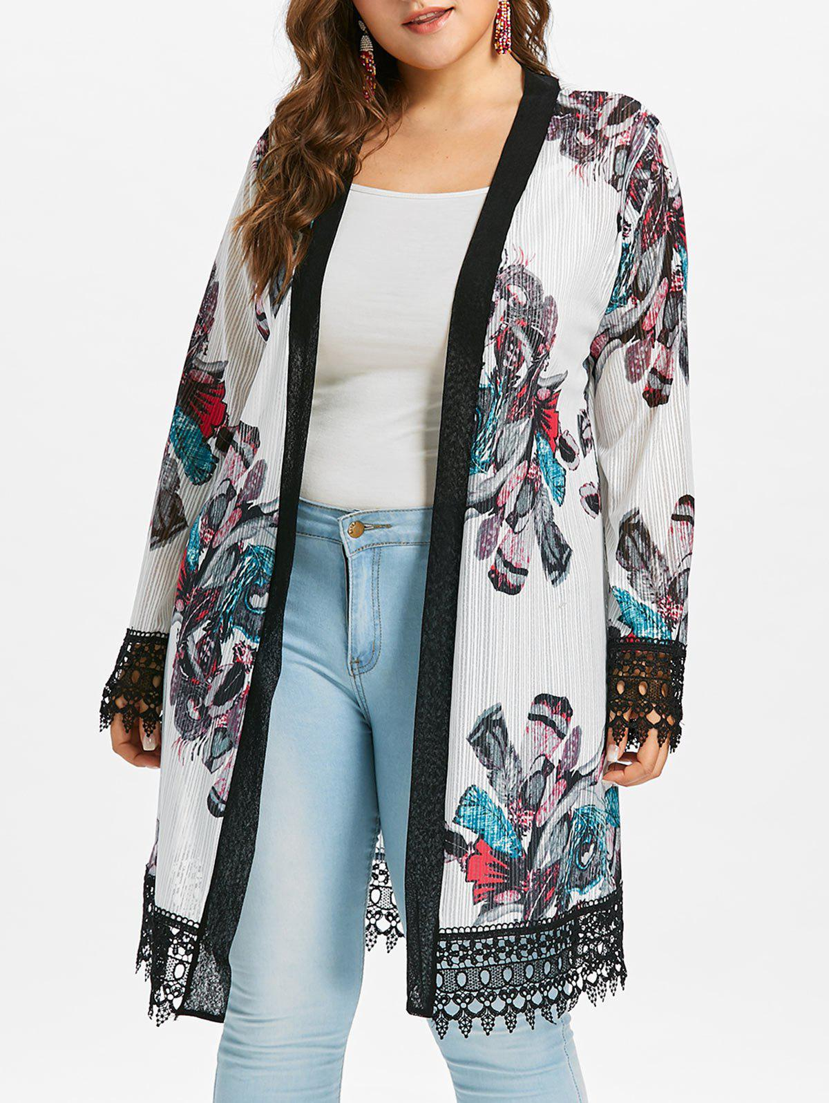 Plus Size Crochet Print Long Coat - WHITE 5X