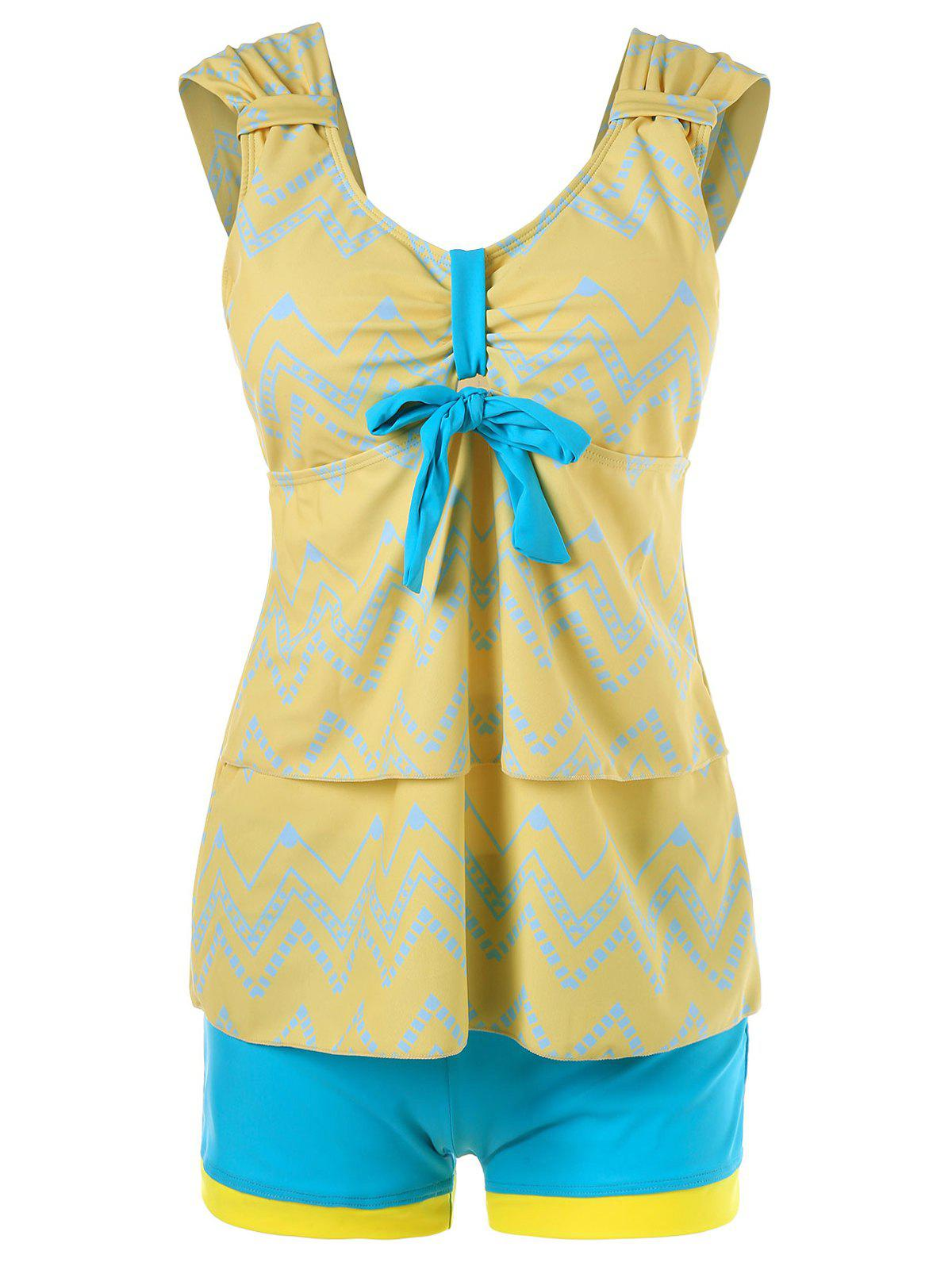 Tiered Flounce Chevron Tankini Swimwear - CORN YELLOW L