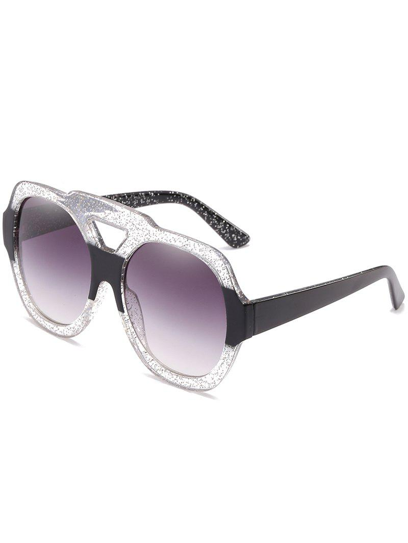 Oudoor Hollow Out Plastic Frame Oversized Sunglasses - TRANSPARENT