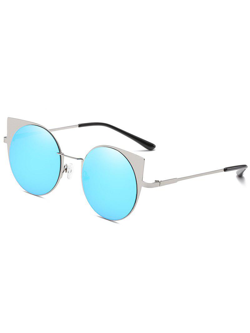 Metal Frame Flat Lens Catty Circle Sunglasses - BUTTERFLY BLUE