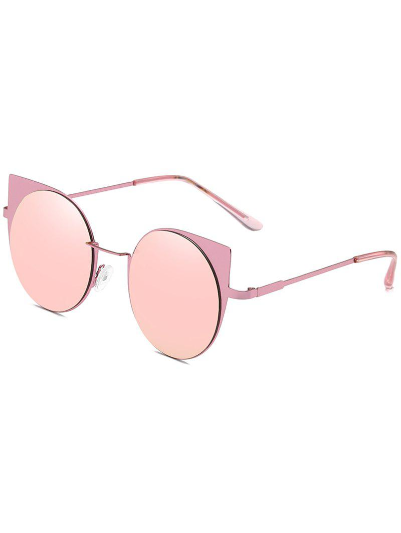 Metal Frame Flat Lens Catty Circle Sunglasses - PIG PINK