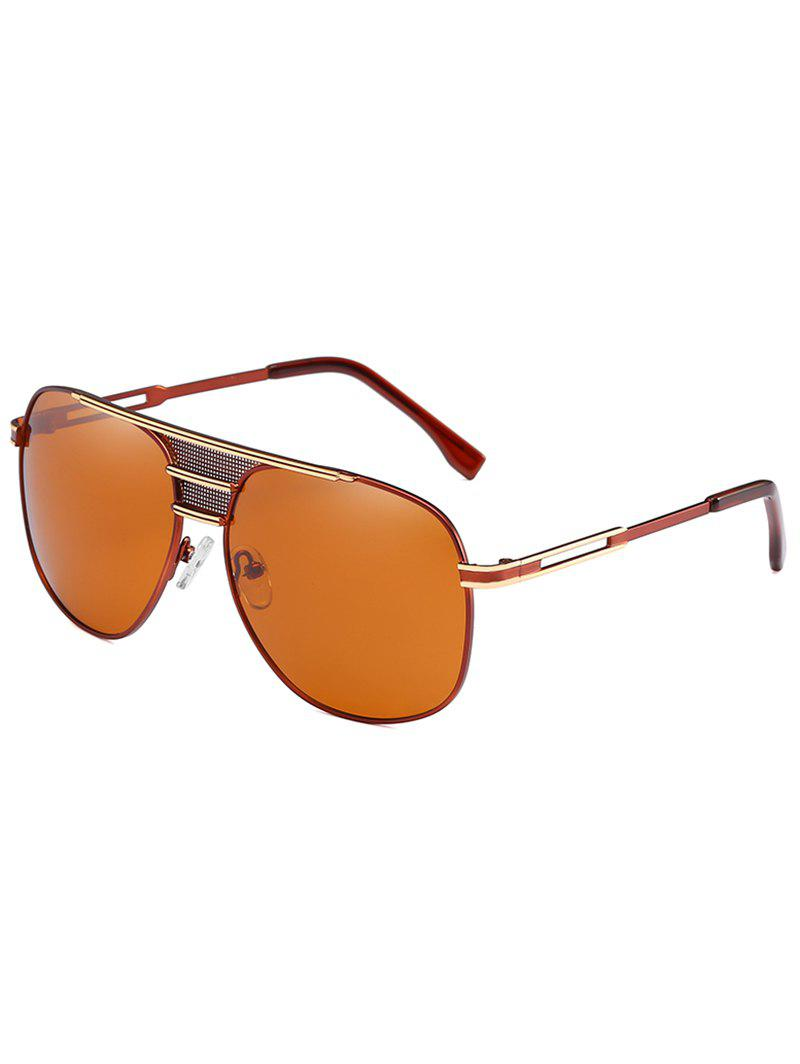Metal Frame Crossbar Driving Travel Pilot Sunglasses - LIGHT BROWN