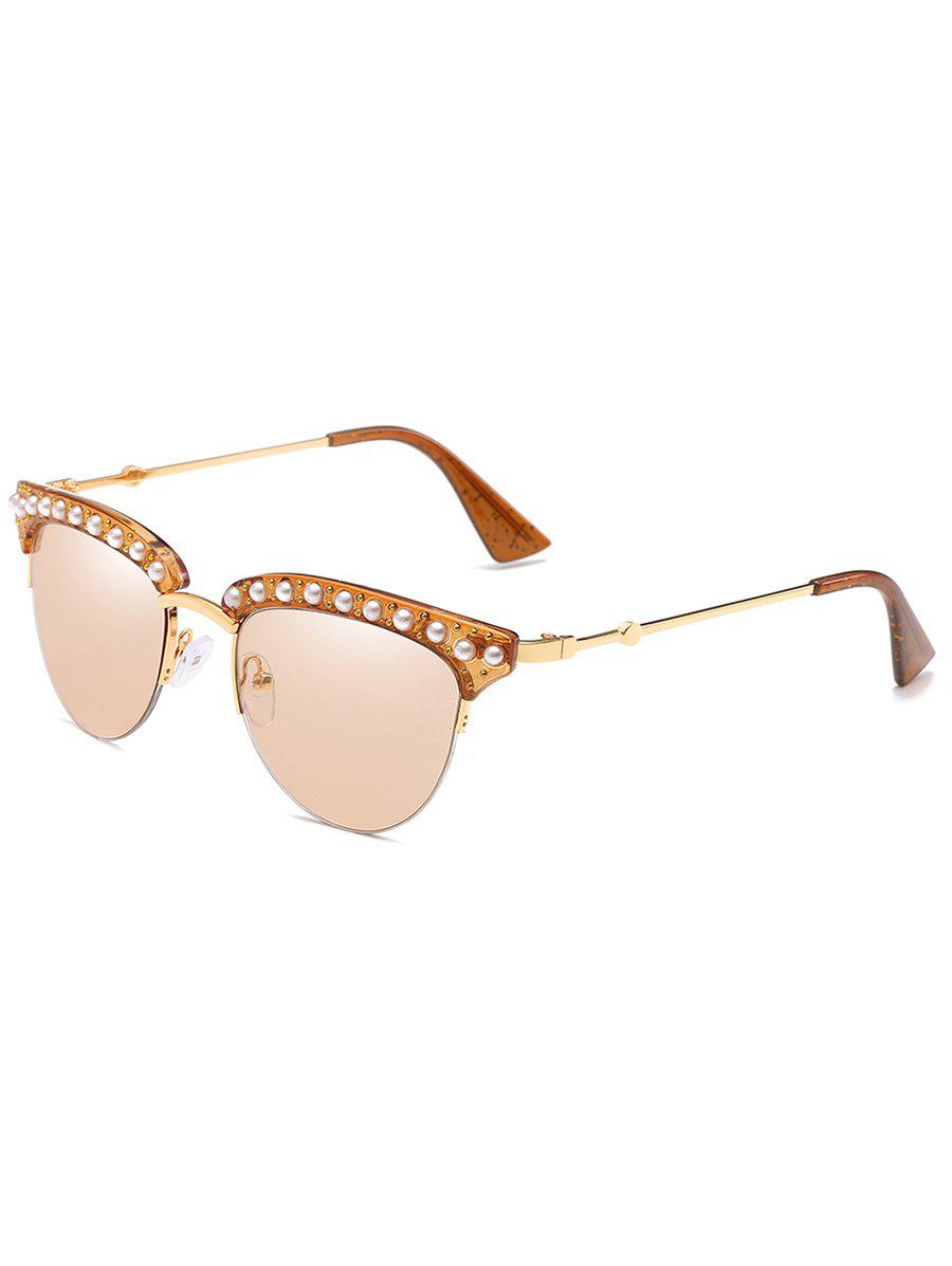 Unique Metal Frame Rhinestone Decorative Sunglasses - CHAMPAGNE