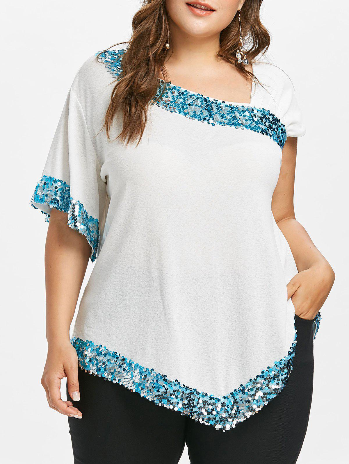 Plus Size Glittery Skew Collar T-shirt plus size skew collar sequined trim overlay t shirt