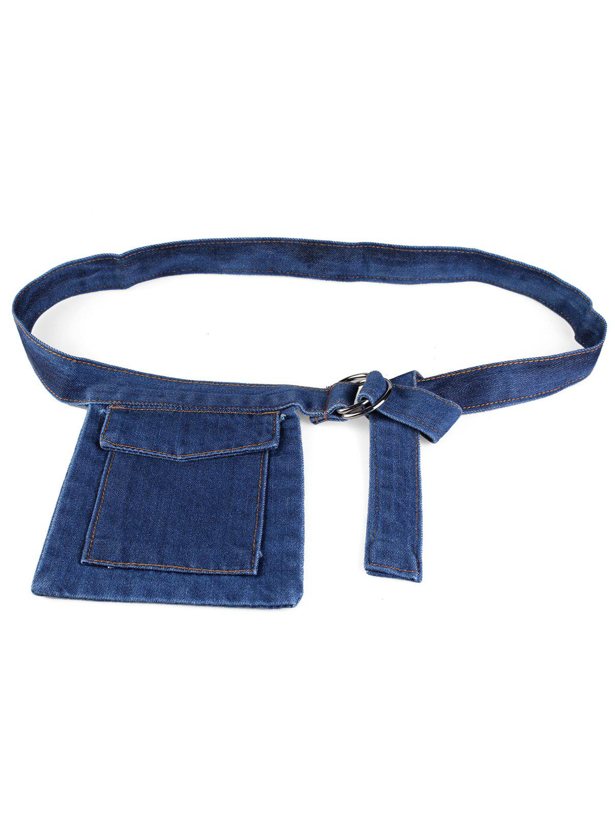 Fanny Pack Decorated Denim Travel Running Waist Belt - DENIM DARK BLUE