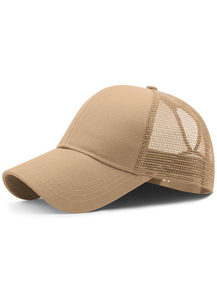 Soft Solid Color Mesh Breathable Sunscreen Hat - CAMEL BROWN