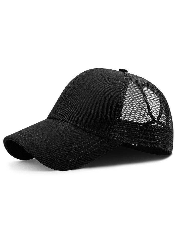 Soft Solid Color Mesh Breathable Sunscreen Hat - BLACK
