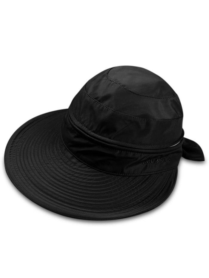 Multifunctional Removable Top Cover Folding Wide Brim Sun Hat - BLACK