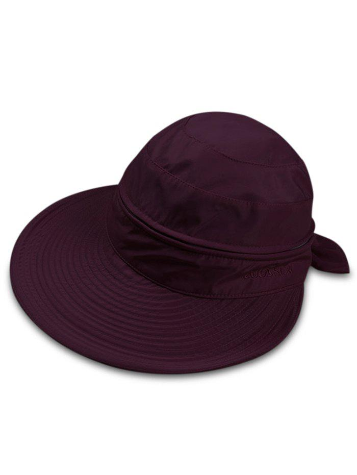 Multifunctional Removable Top Cover Folding Wide Brim Sun Hat - FIREBRICK