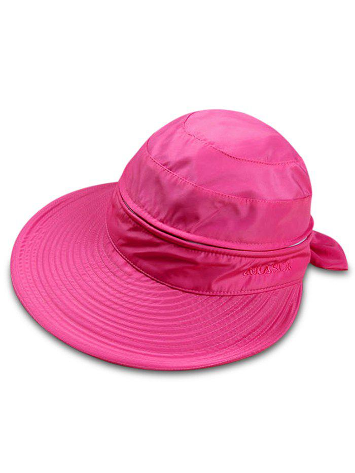 Multifunctional Removable Top Cover Folding Wide Brim Sun Hat - ROSE RED