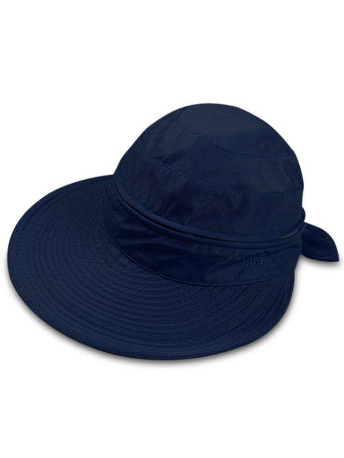 Multifunctional Removable Top Cover Folding Wide Brim Sun Hat - DEEP BLUE
