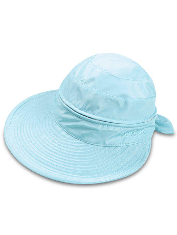Multifunctional Removable Top Cover Folding Wide Brim Sun Hat - ROBIN EGG BLUE