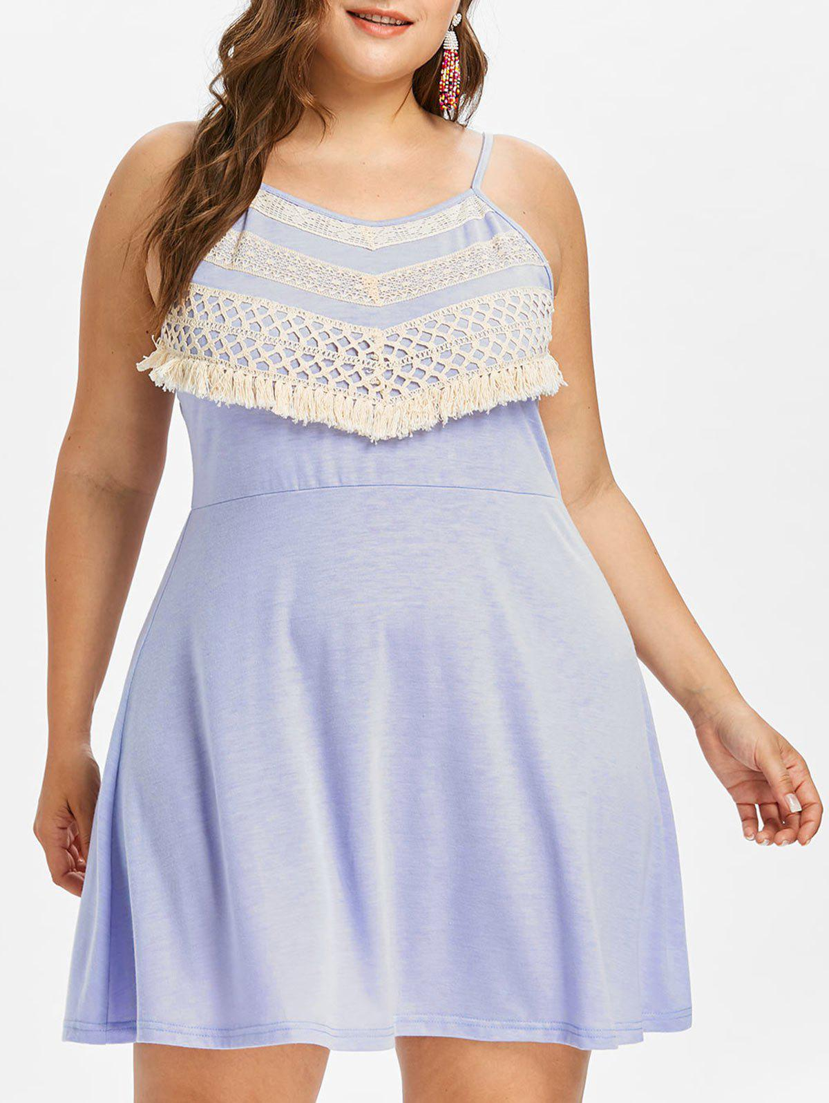 Plus Size Crochet Panel Shift Dress - MAUVE 4X