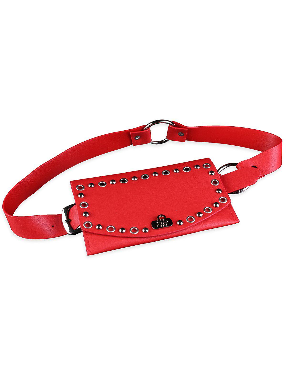 Vintage Hollow Rivets Pattern PVC Transparent Waist Belt - RED