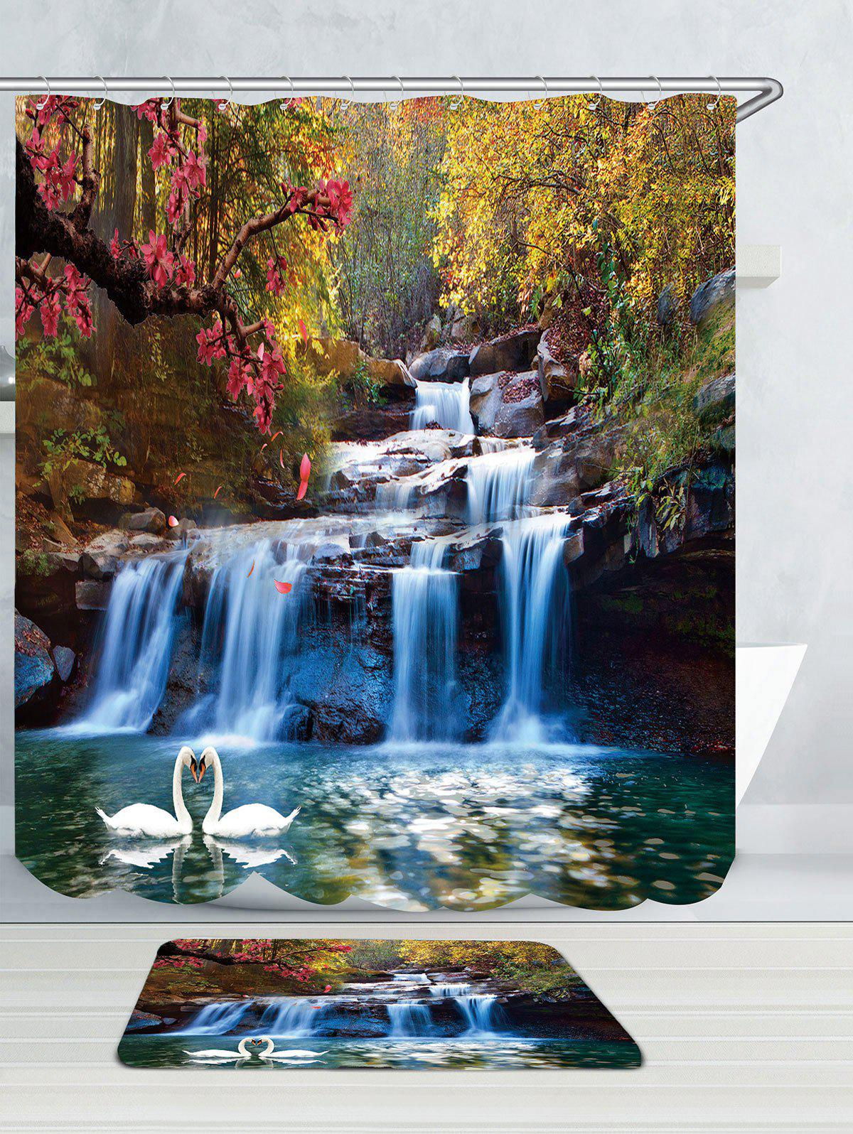 Swans Flowers Cascade Waterproof Bath Curtain with Rug waterproof swans cascade trees wall tapestry
