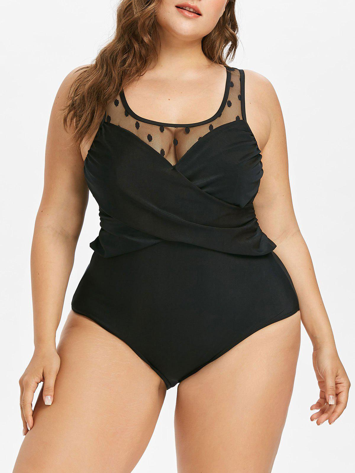Plus Size Mesh Panel Twist Swimsuit - BLACK 1X