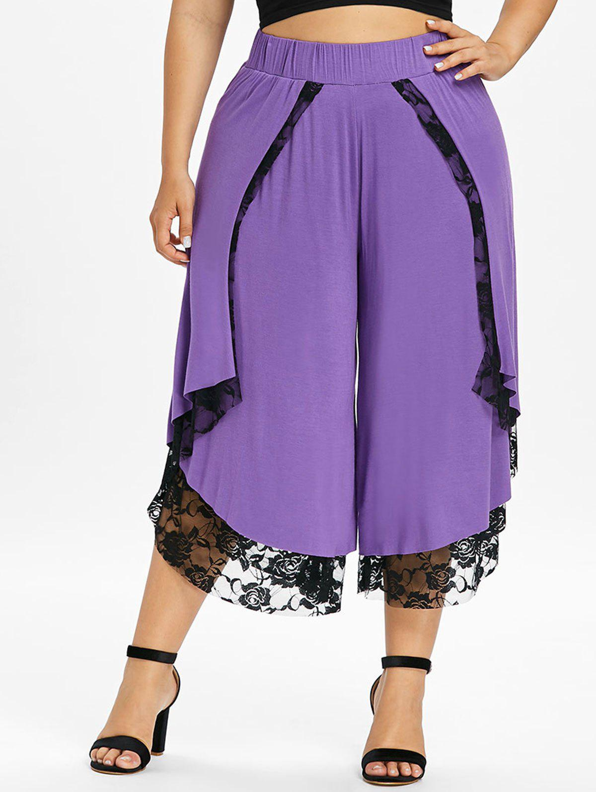 Plus Size Lace Front Wrap Wide Leg Pants