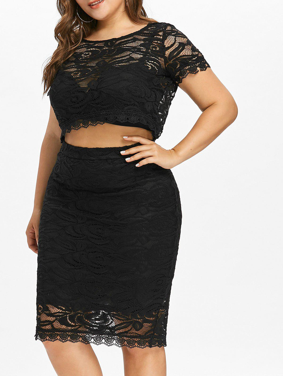 Plus Size Short Sleeve Two Piece Lace Dress - BLACK 2XL