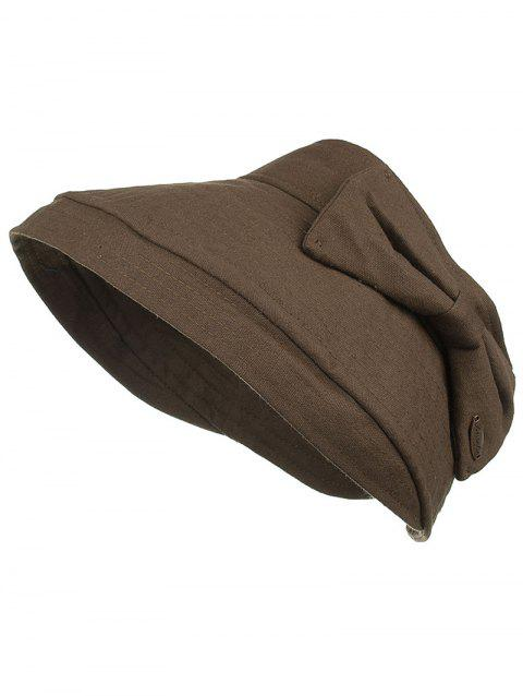 Outdoor Bowknot Decorative Open Top Summer Hat - COFFEE