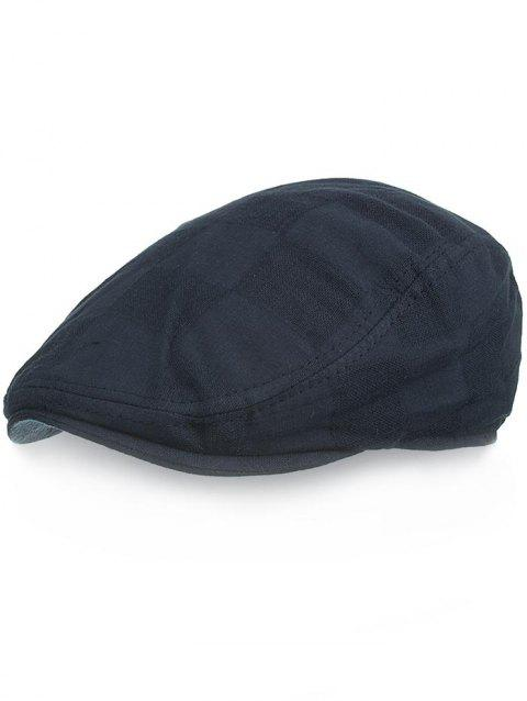 Solid Color Plaid Pattern Newsboy Hat - DEEP BLUE