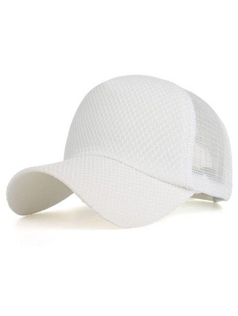 Solid Color Mesh Breathable Snapback Hat - WHITE