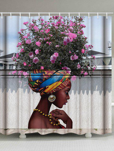 African Girl With Floral Hair Print Waterproof Bathroom Shower Curtain