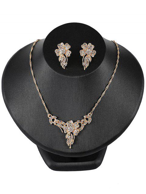 Vintage Rhinestone Flower Wedding Party Gift Jewellery Set - GOLD