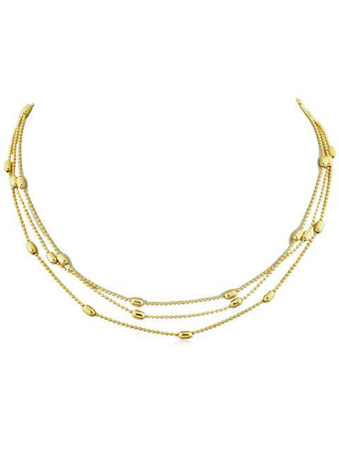 Beads Layered Alloy Necklace - GOLD