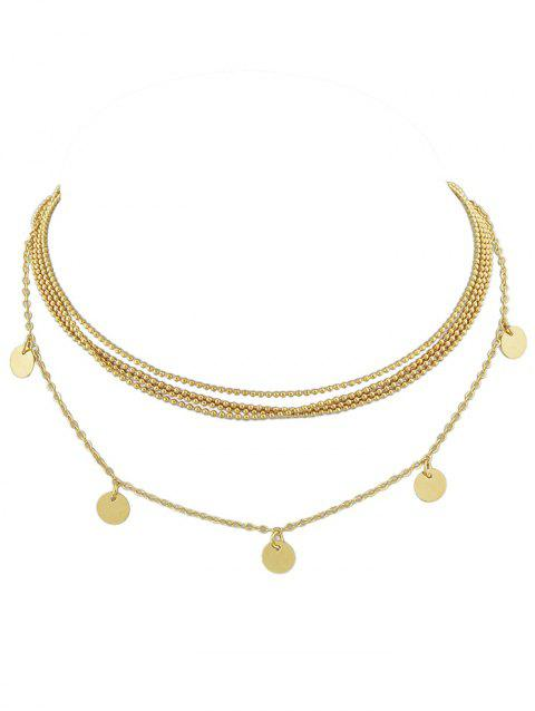 Discs Layered Beaded Necklace - GOLD