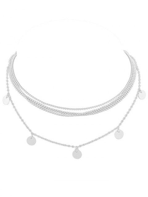 Discs Layered Beaded Necklace - SILVER
