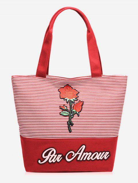 Roses Embroidery Striped Tote Bag - RED