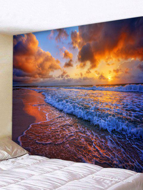 Seaside Sunset Waves Print Wall Decor Tapestry - multicolor W91 INCH * L71 INCH