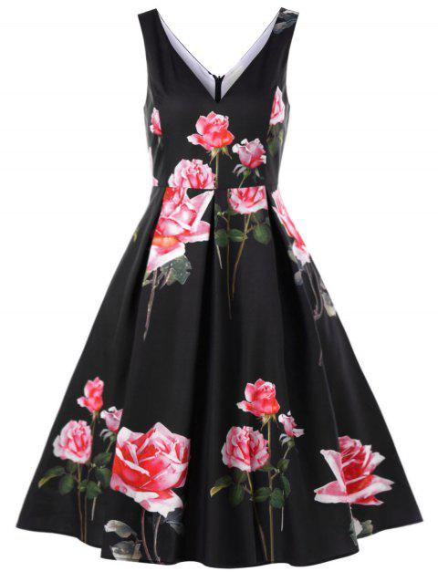Floral 1950s Vintage Swing Dress - BLACK M