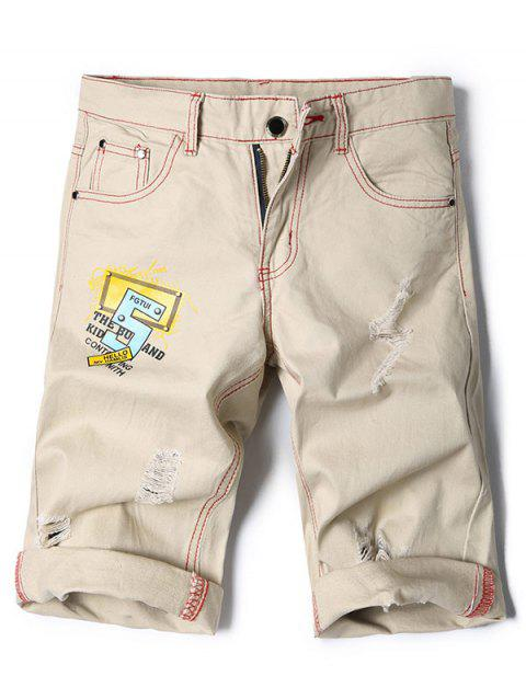 Zipper Fly Destroyed Casual Shorts - BEIGE 30
