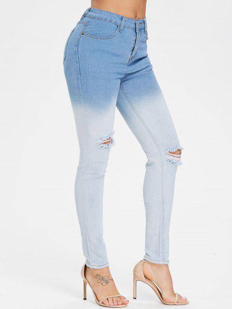 Ombre High Waist Ripped Jeans - LIGHT SKY BLUE XL