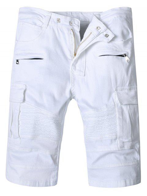Flap Pockets Zipper Fly Moto Shorts - WHITE S