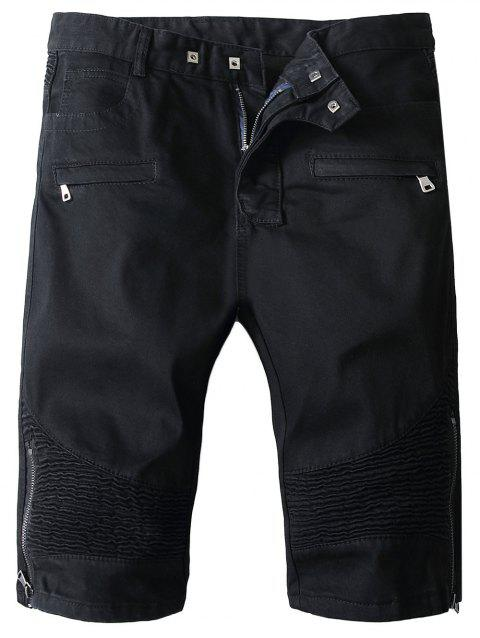 Zipper Fly Pocket Design Moto Shorts - BLACK L