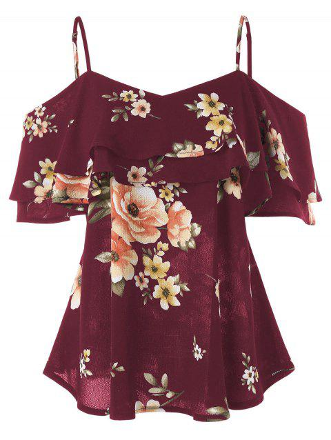 Spaghetti Strap Floral Print Open Shoulder Blouse - RED WINE 2XL
