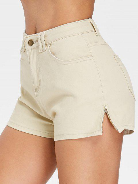 Zipper Side High Waist Mini Shorts - WARM WHITE M
