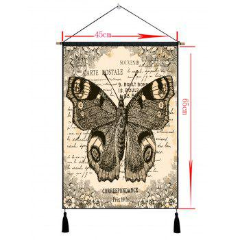 Retro Butterfly Print Wall Art Tassel Hanging Painting - multicolor 1PC:18*26 INCH(NO FRAME)
